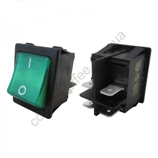 Кнопка ON-OFF зеленая яркая 16A 250V ASTORIA