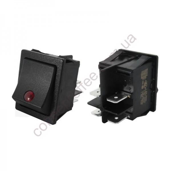 Перемикач біполярний чорний з червоним індикатором 16A 250B