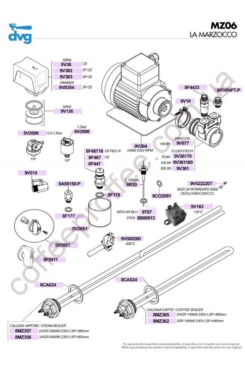 LA MARZOCCO - MOTOR, PUMP, PRESSURE SWITCHES, HEATING ELEMENTS AND VALVES