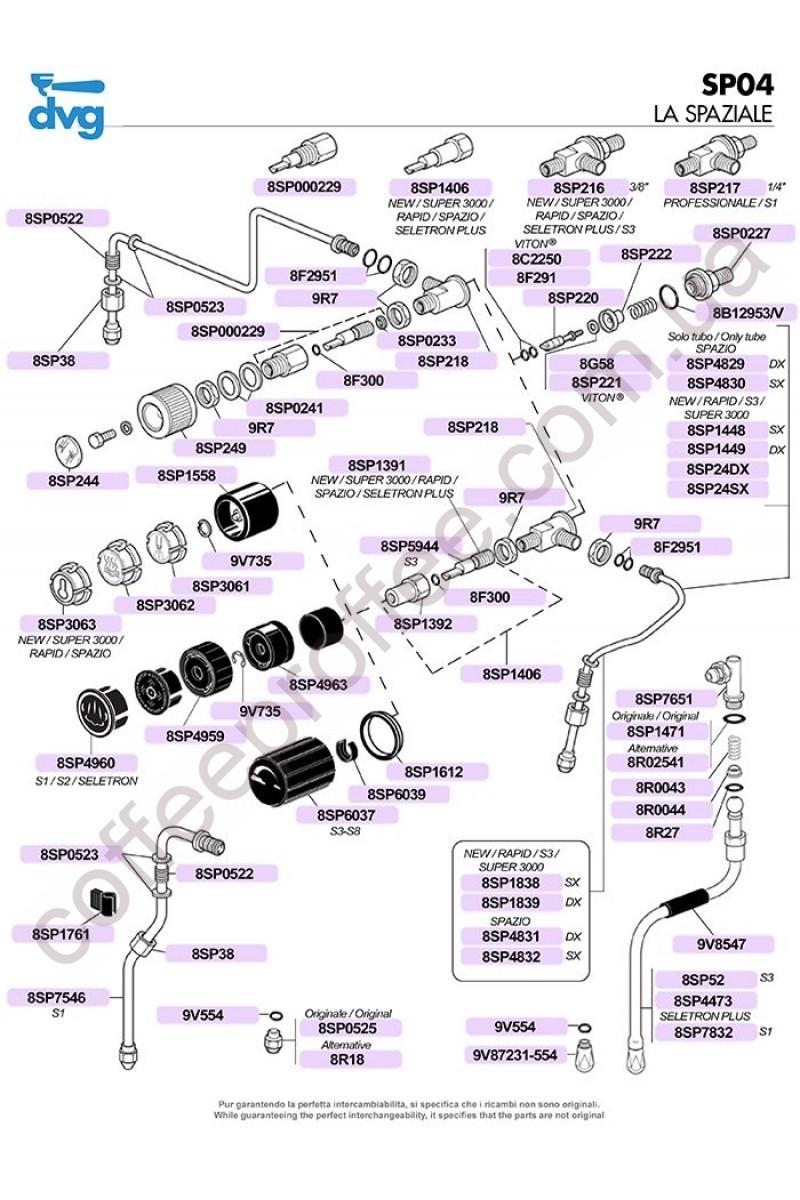 LA SPAZIALE - RUBINETTI VAPORE S1/S3/NEW/RAPID/SELETRON PLUS/SPAZIO/SUPER 3000