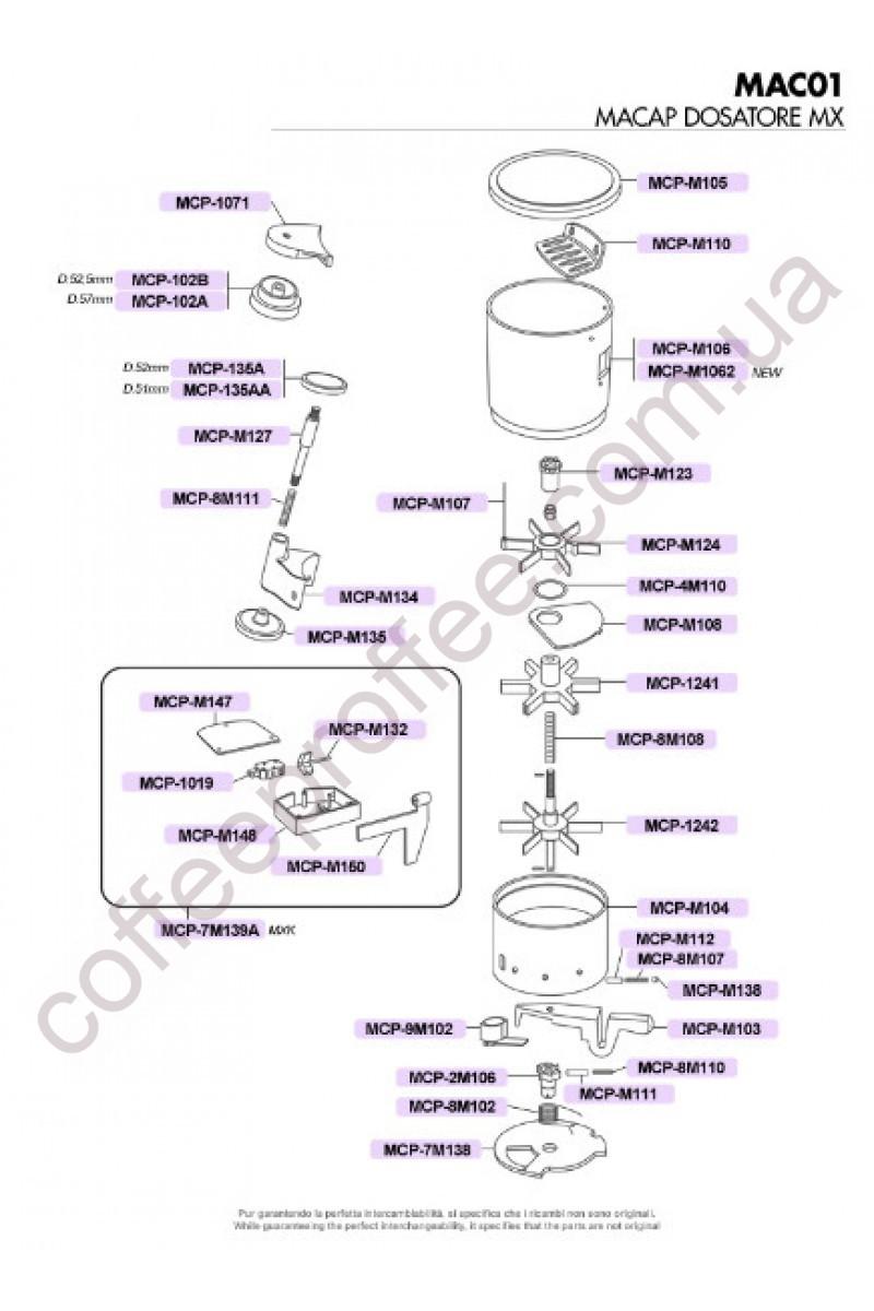 MACAP - MX, M7 A/T/B SERIES COFFEE DOSER