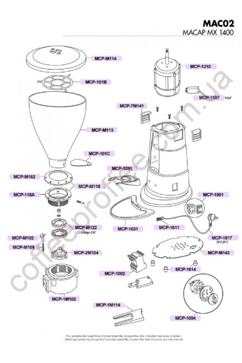 MACAP - MX SERIES 1400 RPM COFFEE GRINDER DOSER