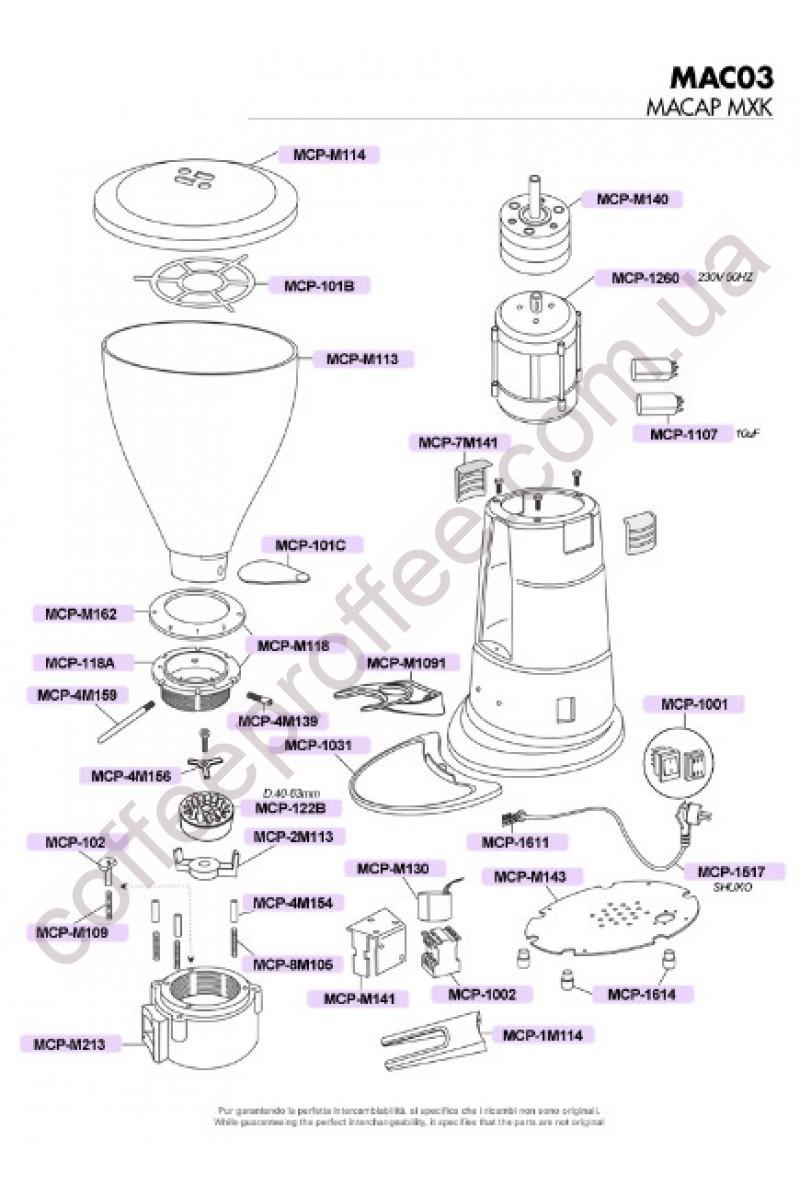 MACAP - MXK SERIES (CONICHAL) COFFEE GRINDER DOSER